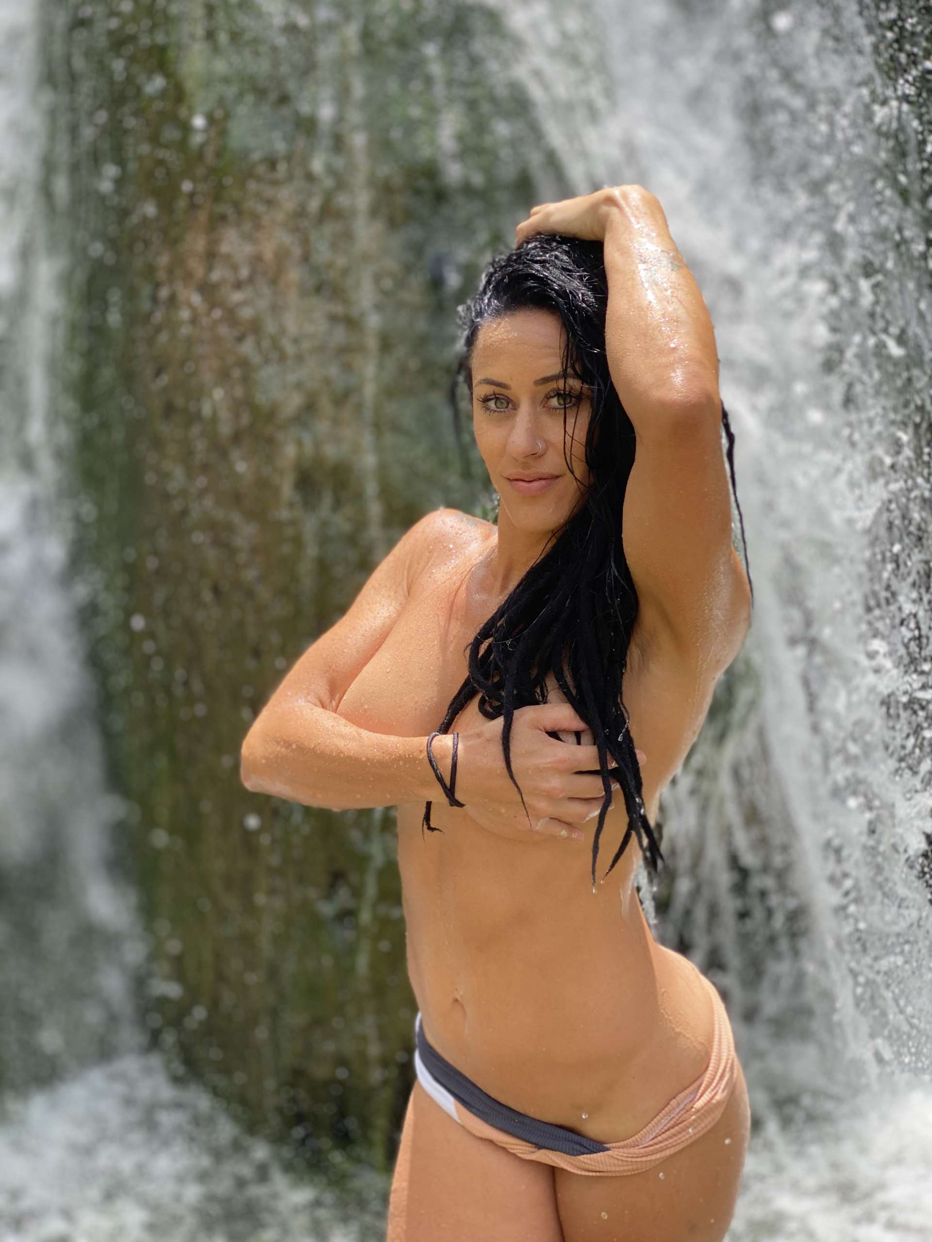 Aubrey Maverick naked by waterfall